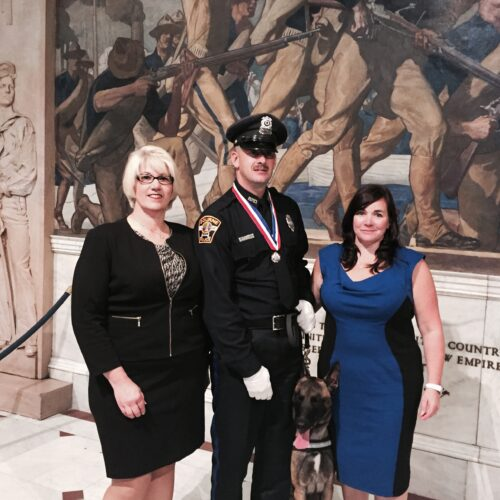 NEPBA Executive Committee member Deb Batista with Medal of Honor recipient Jared MacDonald and wife.