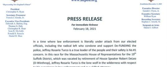 PRESS RELEASE: NEPBA endorses in Rep. Jeffrey Rosario Turco